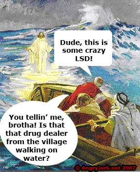 Jesus appears to some guys tripping balls.
