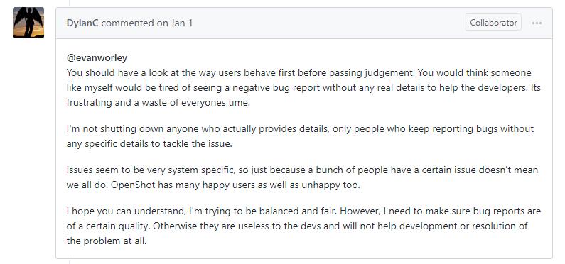 OpenShot GitHub community, Dylan's douchebaggery 1