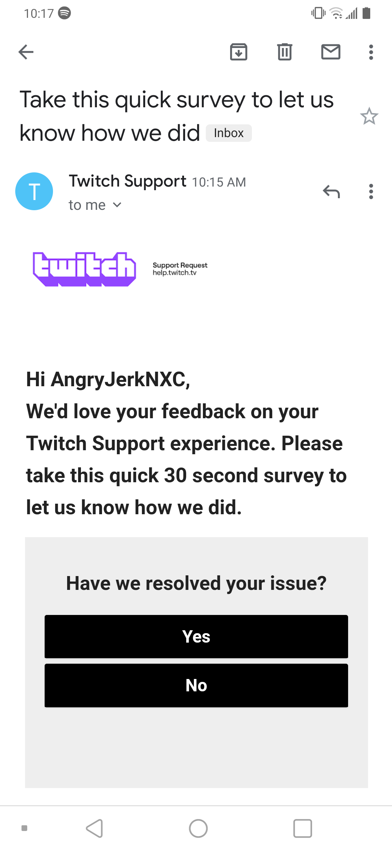 Twitch Survey invite.
